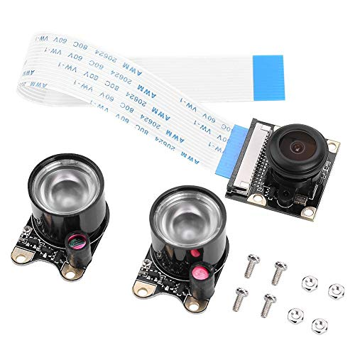 Richer-R Raspberry Pi Kamera Modul, HD 1080p Camera Module 5MP OV5647 Sensor Fisheye Weitwinkel Video Kamera,1/4 Zoll CCD Nachtsicht Kameramodul für Alle Raspberry Pi Modelle