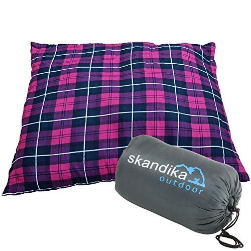 skandika Dundee Sleepyhead kuscheliges Kopfkissen Flanell 65x45 cm ideal für Schlafsack, Isomatte, Reisen (pink)