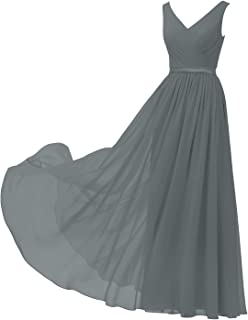 V-Neck Chiffon Bridesmaid Dress Long Party Prom Evening Dress Sleeveless