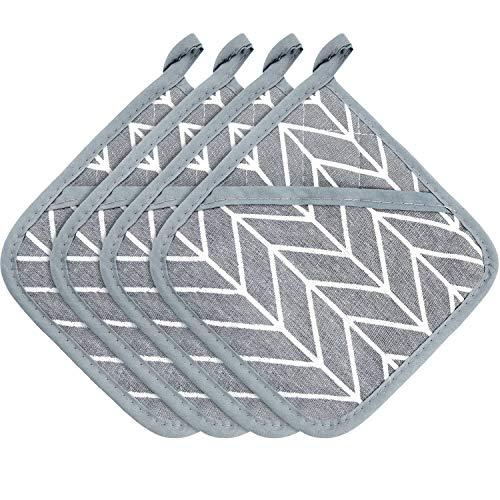 Patelai 4 Stücke Große Baumwoll Topflappen Ofen Handschuhe Set Hitzebeständige Topflappen Quadratischer Topflappen für Hause Küche