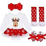 TiaoBug Bébé Fille 4pcs Déguisement Noël Ensemble de Baptême Tutu Body Combinaison à Manche Longue Barboteuse Jambières Chaussures Tenues Nouvelle Année Costume 3-18 Mois #1 6-9 Mois
