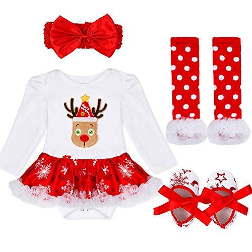 YiZYiF 4 Pcs Bébé Fille Déguisement Noël Vêtement de Baptême Tutu Barboteuse à Manches Longues Combinaison Jambières Chaussures Ensemble Costume Câdeau Fête Tenues 3-18 Mois Blanc Rouge # 1 6-9 Mois