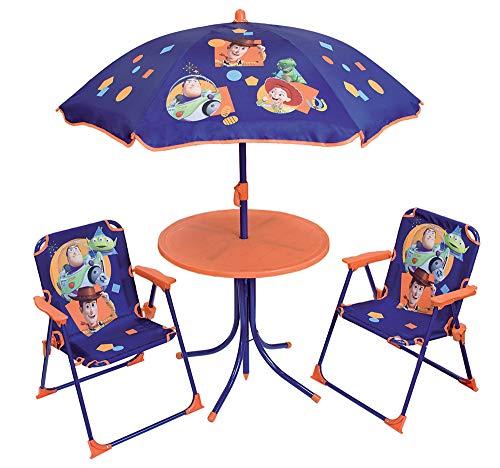 FUN HOUSE 713018 Disney Toy Story - Salón de jardín con 1 Mesa, 2 sillas Plegables y 1 sombrilla para niños