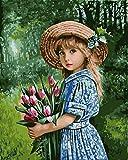Pintar Por Numeros Para Adultos Niños Pintura,Rosa Purpura Pintar Por Números Con Pinceles Y Colores Brillantes Sin Marco 40 X 50 Cm