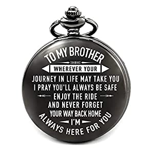 【Meaningful Gift for Brother】Classic pocket watch with chain is beautifully crafted with sentimental saying for brothers. 【Best Brother Gift】brother gift from sister, brother gift from brother, brother gift for Rakhi, Fathers Day, Happy Birthday, gra...