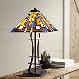 Jewel Tone Mission Tiffany Style Table Lamp Iron Bronze Geometric Antique Stained Glass Art Shade Decor for Living Room Bedroom House Bedside Nightstand Home Office Family - Robert Louis Tiffany