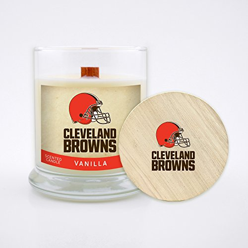 Worthy Promo NFL Cleveland Browns Vanilla Scented Soy Wax Candle, Wood Wick and Lid, 8 oz