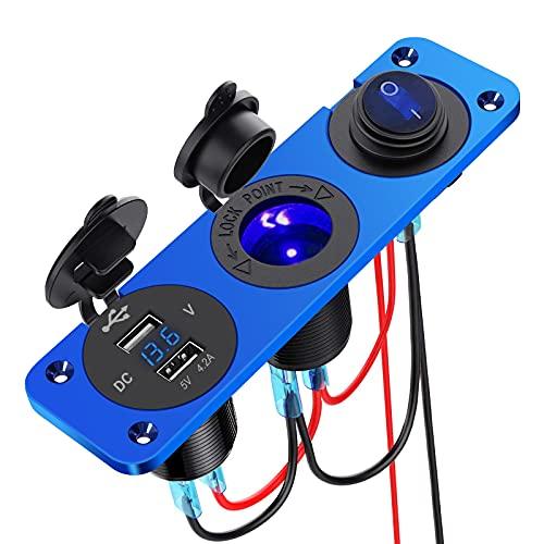 5 V 4,2 A Dual USB Cargador de coche Panel de aleación de aluminio Enchufe mechero impermeable Panel de aleación de aluminio con interruptor utilizado para coche, moto, barco, ATV, RV (azul)