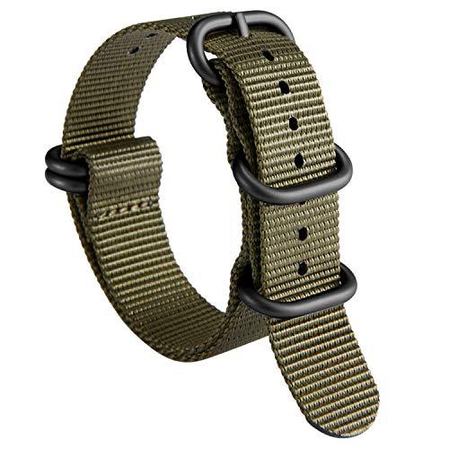 Reloj Correa gruesa G10 Reloj de reemplazo de nylon de primera calidad para hombres 18 mm 19 mm 20 mm 21 mm 22 mm 23mm 24mm con servicio pesado militar 5 anillos Hebilla de acero inoxidable correa de