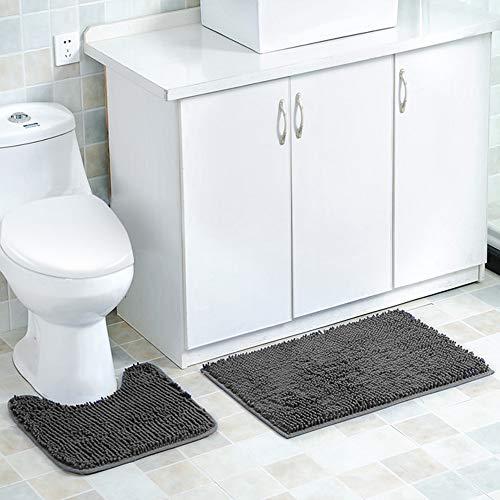 Gearific Juego de Alfombrillas de baño y Pedestal de 2 Piezas, Alfombrilla de baño Antideslizante Alfombrilla de baño Lavable Alfombra de baño para bañera de Piso Ducha Dormitorio (Gris Oscuro)