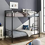 Walker Edison Elodie Urban Industrial Twin over Twin Metal Bunk Bed, Twin over Twin, Black