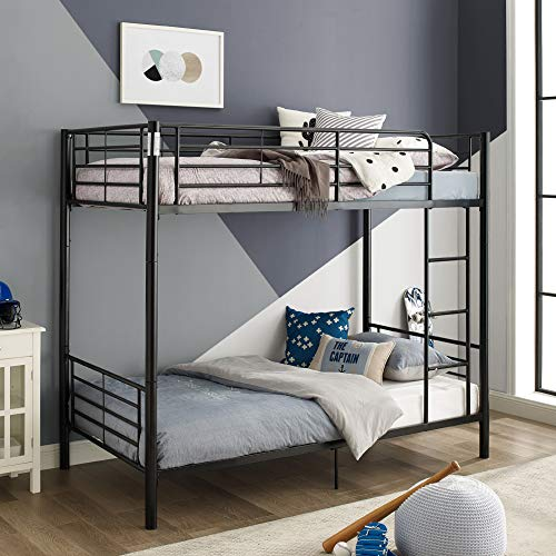 Walker Edison Furniture Company Modern Metal Pipe Twin Bunk Kids Bed Bedroom Storage Guard Rail Ladder Black