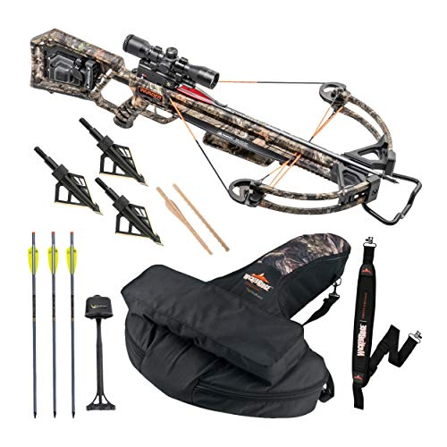 Wicked Ridge Invader X4 360 FPS Crossbow Bundle, ACUDraw 50, with Soft Backpack Case, Neoprene Strap, Broadheads, Multi-Line Scope, Quiver, and Arrows. Made in The USA. (4 Items)