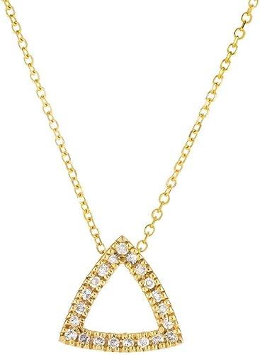 compra en línea hoy Colgante Colgante Colgante de oro amarillo de 14 quilates con triángulo abierto, diamante de 11 quilates, oro amarillo de 14 quilates, 0,8 mm, collar de cable – 46 centímetros  lo último