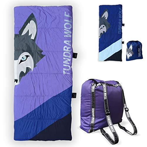 Product Image of the Tundra Wolf Kids' Sleeping Bag - Unique Foot Opening, Glow in The Dark Zip,...