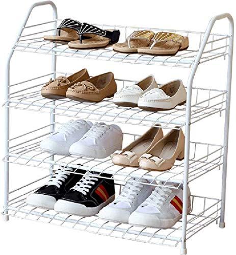 Estantes de zapatos Zapato de 4 capas Blanco Metal Blanco Hierro de hierro labrado Zapatillas de almacenamiento Hogar Rack Zapatos Estante de almacenamiento para Armario, Pasillo, Entrada, Sala de est
