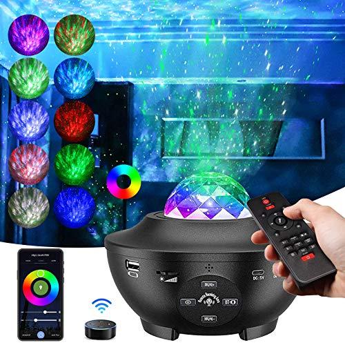 LED Projektor Sternenhimmel, Galaxy Light Projector mit Rotierende Wasserwellen, Farbwechsel Musikspieler & Bluetooth &Timer, sternenhimmel Lampe mit Geschenke für Kinder Erwachsene (G)