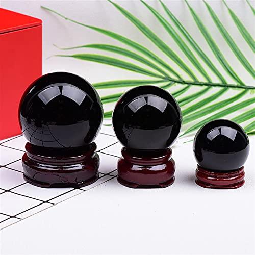 Decoración hogareña Obsidian Natural Reiki Esfera de Cristal STANEING Healing Piedra Méter Decoración del hogar Fengshui Series Coleccionar artesanías (Color : Obsidian, Size : 35-40mm)