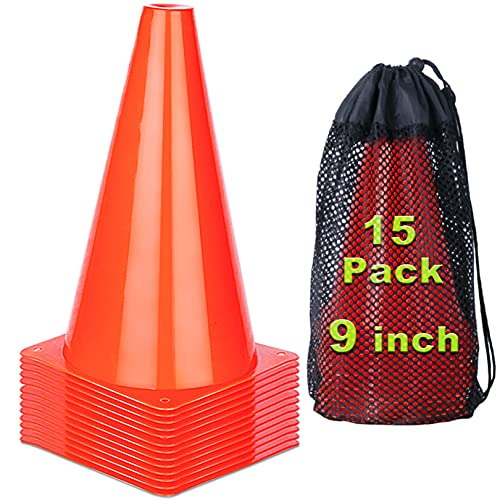 cyrico 9 Inch Cones Sports, 15 Pack Orange Traffic Cones Soccer Training Agility Field Parking Safety Plastic Cones for Football Basketball Drills, Indoor Outdoor Games Activity or Events