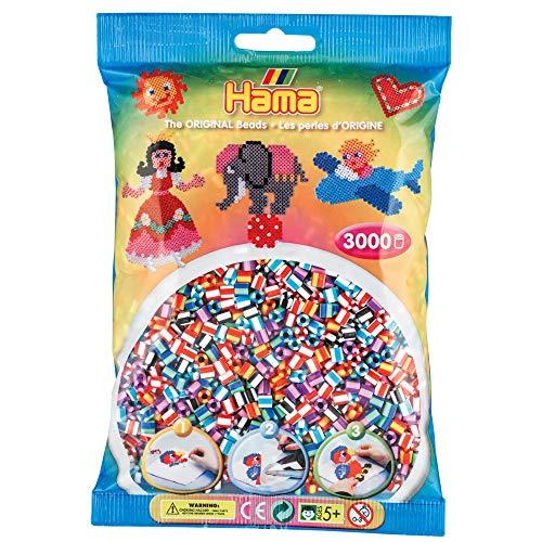 Hama Perlen 201-90 Bügelperlen Beutel mit ca. 3.000 bunten Midi Bastelperlen mit Durchmesser 5 mm im Mix gestreift, kreativer Bastelspaß für Groß und Klein