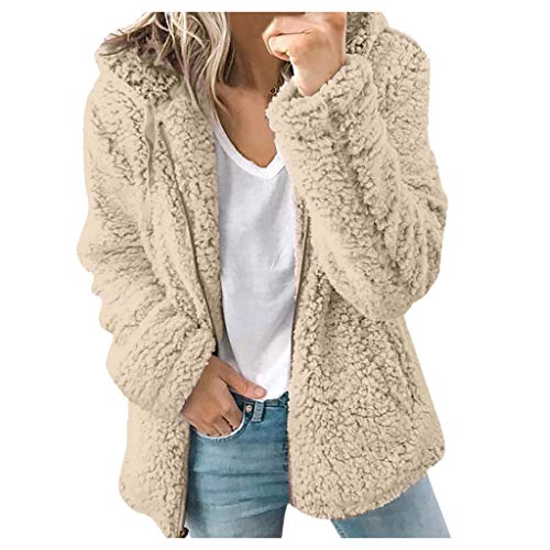 Damen-Jacke, warm, gehäkelt, Wolle, Strick, Hoodie, lockerer Reißverschluss Gr. Small, khaki