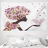 ABAKUHAUS Schmetterlinge Wandteppich, Mädchen EIN Herz genießen Blüten Sommerzeit Fantasy Happy Animal Print, aus Weiches Mikrofaser Stoff Wand Dekoration Für Schlafzimmer, 230 x 140 cm, Mehrfarbig