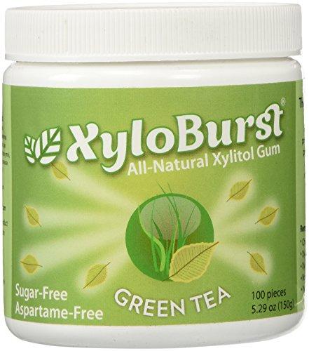 Focus Nutrition, XyloBurst 100% Xylitol Gum, Green Tea Gum, 100 Count Jar, Natural Chewing Gum, Non...