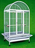 """Cage dimension: 36''L x 26''W x 50''H with an overall height of 65""""(Including stand) Bar spacing: 1'' , Wire gauges: 3.5mm and 4.5mm Three heavy duty stainless steel cups, three swing out feeder doo Slide-out grate and bottom metal tray for easy clea..."""