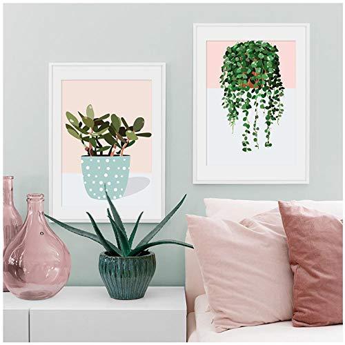 Groene Dille Plant Gras Scandinavische Wall Art Canvas Schilderen Nordic Posters en Prints Muurdecoratie Foto's voor Woonkamer -50x70cmx2 stuks(geen Frame)
