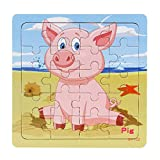 FXX Rompecabezas, 20 Slice Puzzle niños de Juguete Animales de Madera Rompecabezas Juguetes educativos del bebé de Aprendizaje para niños de Regalos,C