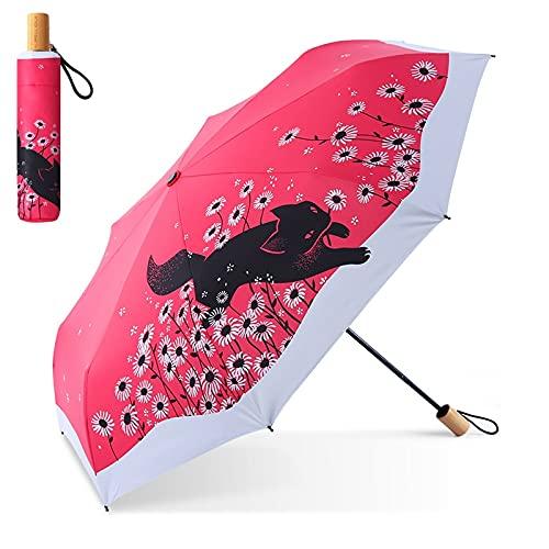 DJMJHG Sombrilla Femenina súper Anti-UV con Estampado de Gato a la Moda para Mujer, Paraguas para Viaje y Lluvia para Mujer, Protector Solar