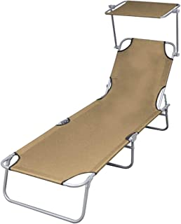 vidaXL Folding Sun Lounger with Canopy Outdoor Garden Camping Beach Day Bed Seating Steel Taupe