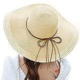 Y-home Sonnenhut Damen Faltbar Strohhut,Sommerhut Damen mit Breiter Krempe Schutz Strandmütze Sonnenhüte Strohhut für Urlaub und Strand