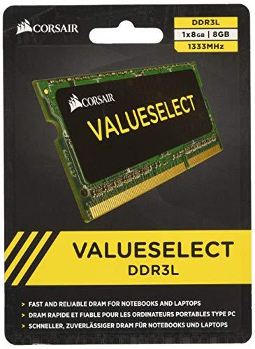 Corsair CMSO8GX3M1C1333C9 Value Select Modulo di Memoria da 8 GB, DDR3L, 1333 MHz, CL9, SODIMM, Nero