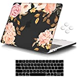 iCasso MacBook Pro 13 inch Case 2016-2020 Release A2338M1/A2159/A1989/A1706/A1708, Plastic Hard Shell Case with 5 Rows Keyboard Cover Compatible Newest MacBook Pro 13' - Black Watercolor Rose