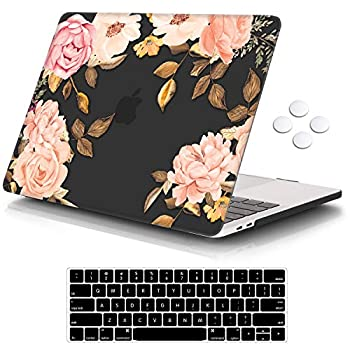 iCasso MacBook Pro 13 inch Case 2016-2020 Release A2338M1/A2159/A1989/A1706/A1708 Plastic Hard Shell Case with 5 Rows Keyboard Cover Compatible Newest MacBook Pro 13   - Black Watercolor Rose