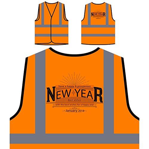 Bonne année voeux Veste de Protection Orange personnalisée à Haute visibilité u278vo