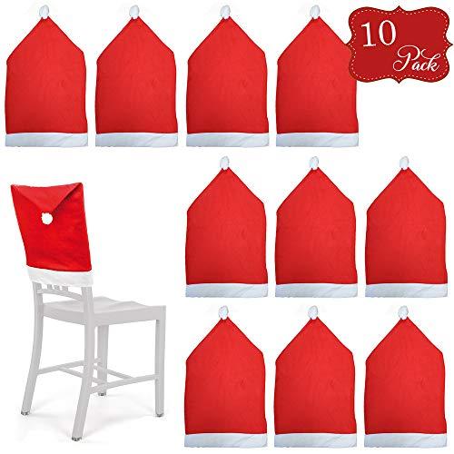 10 Fundas protectoras para sillas temáticas de Navidad - Rojo y blanco con pompones - Perfecto para fiestas y...