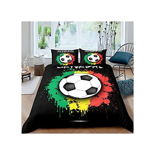 KAVNAR Juego de cama digital 3D de fútbol (color 1, tamaño: funda de edredón)