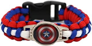 New Horizons Production Super Heroes Glass Domed Braided Leather Bracelet
