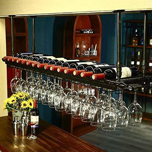 RACK MDELRulde Soporte de Copa de Vino Colgante de Altura Ajustable/Botelleros de Techo para Vino/Soporte de Botella de Vino Vintage/Soporte de Vino de Pared rústico/Soportes para Copas