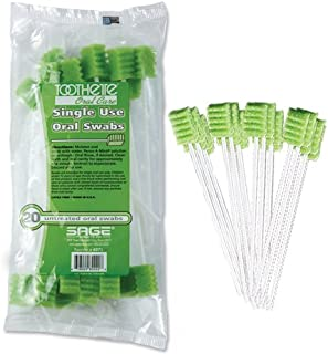 Toothette Oral Care Plus Untreated Single Use Swabs, (Pack of 20)