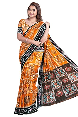 Odisha Handloom Handmade Pure Bomkai Cotton saree Khandua Natural Cotton Ikkat Sambalpuri Saree For Women/Ethnic Wear/Traditonal Saree/Handloom Saree without Blouse Piece