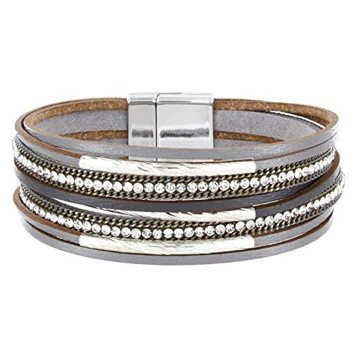 StarAppeal Armband Lederarmband mit Strass, Ketten und Schmuckelementen, Magnetverschluss Silber, Damen Armband (Grau)