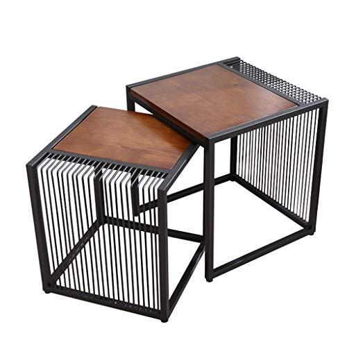 WXiaJ-tavolino da caffè Combinazione di tavolini in Ferro battuto, Design Vuoto, Piano in Legno, Semplice e Informale, utilizzato per la Decorazione di Un Soggiorno Domestico Moderno, Marrone
