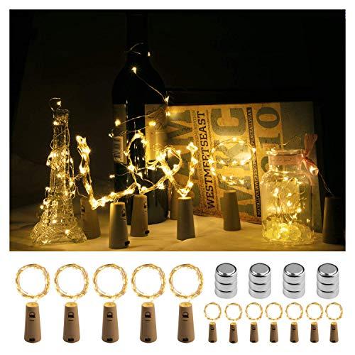 Luces Led Botella, Homegoo 2M 20 LED Luces de Cuerda de Vino con Batería con Corcho para Habitaciones de Bricolaje Fiestas Bodas Navideña (Blanco Cálido, Paquete de 12)