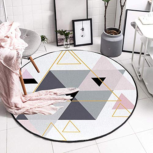 Carpettes rondes durables de géométrie grise rose de salon de tapis de rond-point lavables à la machine modernes de glissière, idéales pour les terrasses 120CM de table basse d'étude de pépinière