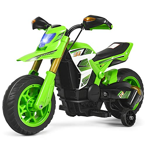 HONEY JOY Ride On Motorcycle, 6V Electric Motorcycle for Kids with Training Wheels, Spring Suspension, Headlight, 3-Wheels Mini Motorized Dirt Bike for Baby Girl Boy (Green)