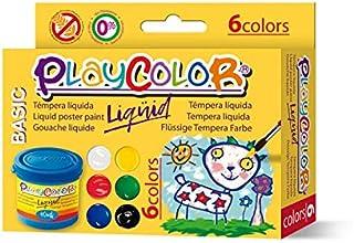 Lot de 6 Pots de Peinture Gouache Liquide Basic - 40 ml. Couleurs Assorties - Playcolor - 19931