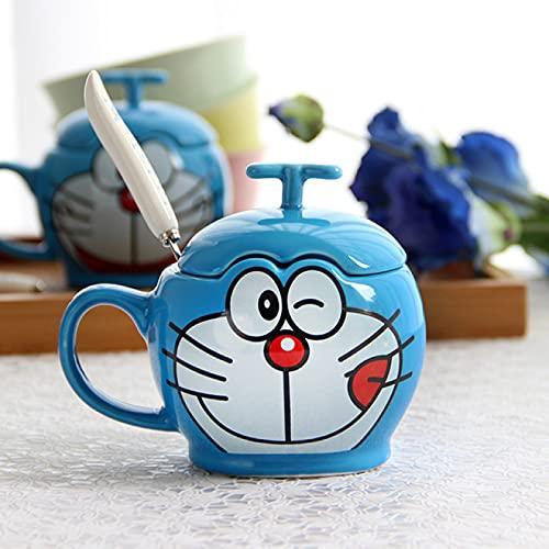 Alexny Taza, Pareja Taza de cerámica con Tapa Cuchara Taza de Doraemon de Dibujos Animados Simple Taza de Regalo de cumpleaños para niños